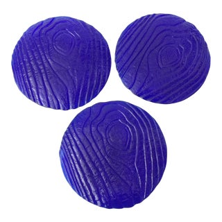 Vintage Cobalt Woodgrained Dessert Plates - Set of 3 For Sale