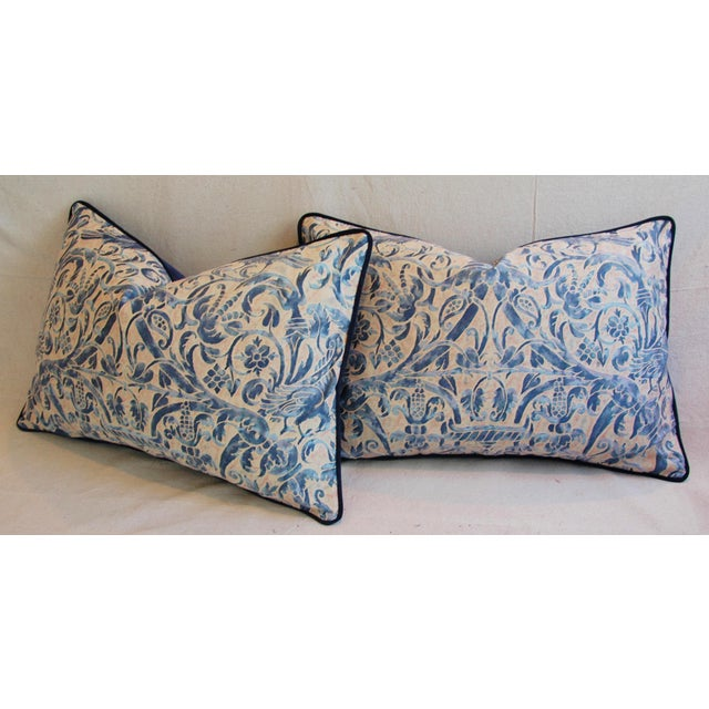 Italian Fortuny Uccelli Down Pillows - A Pair - Image 9 of 11