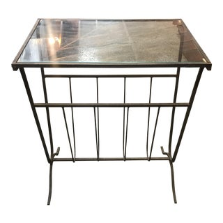 Vintage Metal Magazine Rack With Glass Top