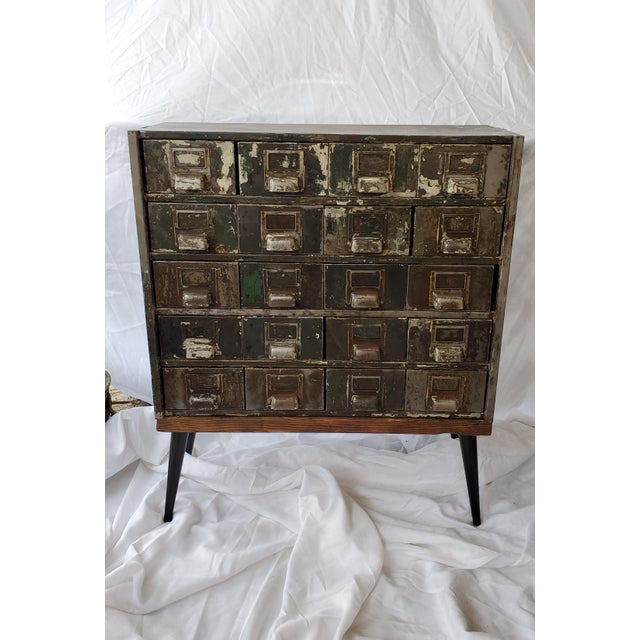 Mid Century Metal Card Catalog Upcycled Hall Table For Sale - Image 12 of 12