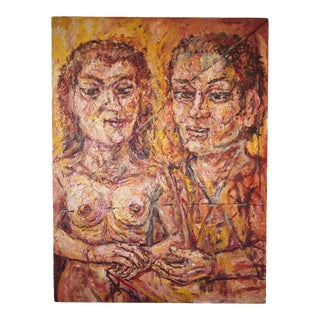 Original Expressionist Peter Passuntino Abstract Painting of Nude Woman Couple For Sale