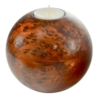 Bird's Eye Maple Sphere Candle Holder For Sale