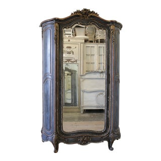 19th Century Louis XV Style French Polychromed Armoire For Sale