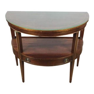 Vintage Mahogany Demilune Glass Top Console Table