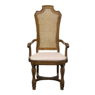Late 20th Century Vintage Thomasville Ceremony Collection Cane Back Dining Arm Chair For Sale