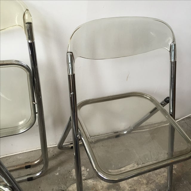 Italian Lucite & Chrome Folding Chairs - Set of 4 For Sale In New York - Image 6 of 7