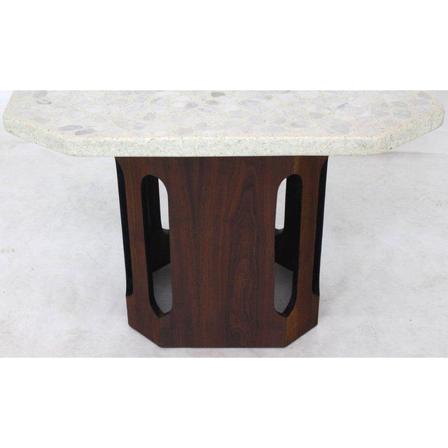 Oiled Walnut Base Terrazzo Top Side Table For Sale - Image 6 of 10