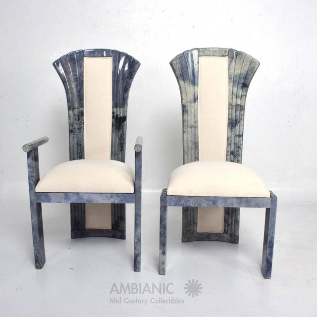 Italian Set of 10 Goatskin Parchment Dining Chairs For Sale - Image 3 of 8