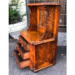 Antique American Burl Wood Jewelry Box W Vanity Mirror Preview