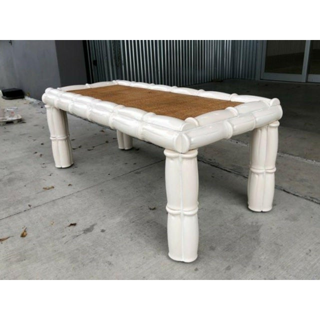 Italian 1950s Italian Palm Beach Style Blanc De Chine Terracotta Faux Bamboo Table For Sale - Image 3 of 7