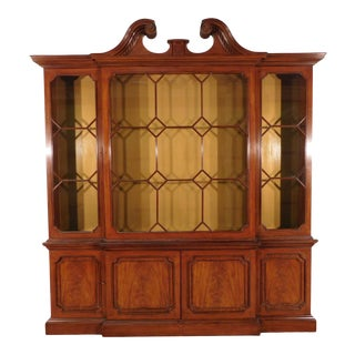 Baker Stately Homes Mahogany Breakfront China Cabinet For Sale