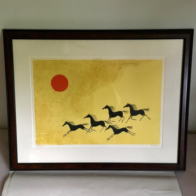 Framed galloping mustang lithograph by artist Keith DeCarlo. Pencil signed and 37/375 edition. Minor wear consistent with...