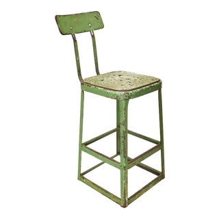 1960s Vintage Green Industrial Metal Shop Stool For Sale