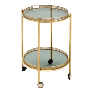 Vintage French Brass Bar Cart With Tray For Sale