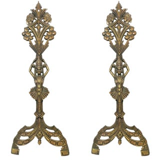 Universal Electric Art Deco Egyptian Revival Fireplace Andirons- A Pair For Sale