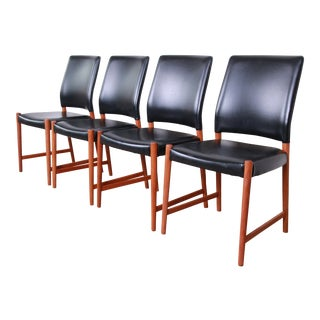 Torbjorn Afdal Teak and Black Leather Dining Chairs, Set of Four For Sale
