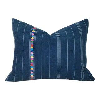 Indigo Striped Guatemalan Corte Skirt Pillow Cover For Sale