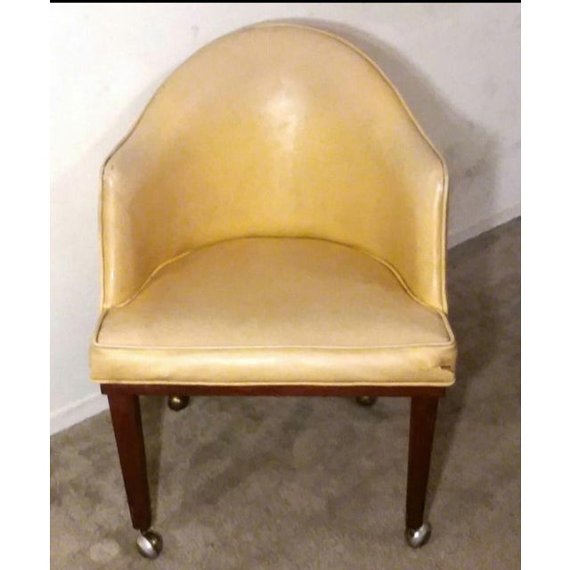 Mid 20th Century Mid Century Danish Modern Teak Yellow Accent Club Chair on Brass Casters For Sale - Image 5 of 6