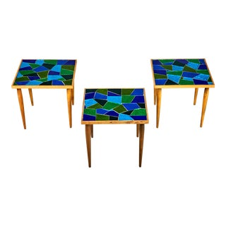 1960 Georges Briard Mosaic Top Side Tables - Set of 3 For Sale