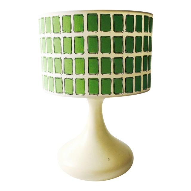 Mid Century Off White Table Lamp & Green Shade - Image 1 of 6