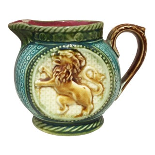 1890s Majolica Lion Pitcher Onnaing For Sale