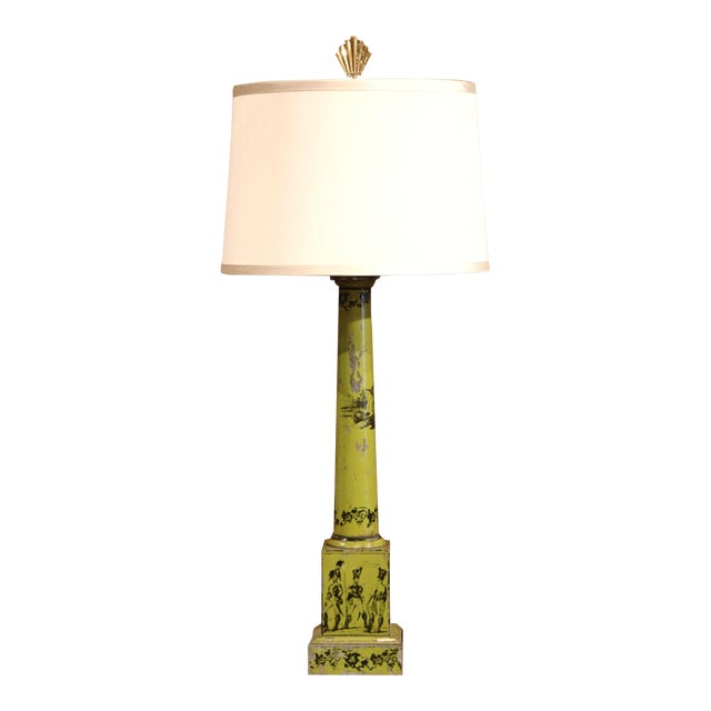19th Century French Directoire Hand-Painted Green Tole Table Lamp For Sale