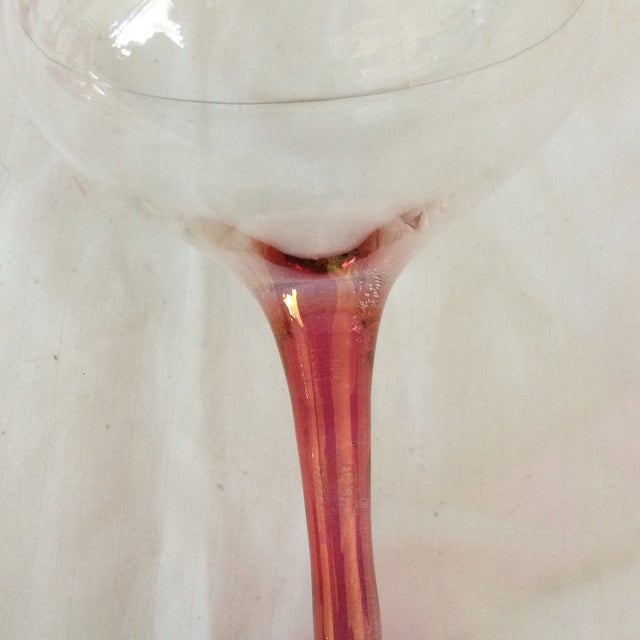 Vintage Pink Stem Iridescence Champagne Coupes - Set of 11 For Sale - Image 9 of 13
