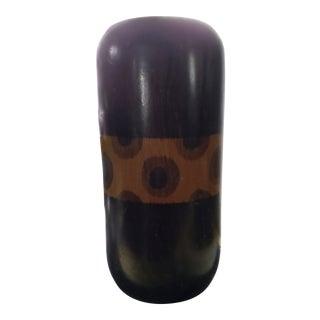 Vintage African Solid Wood Decorative Vase For Sale