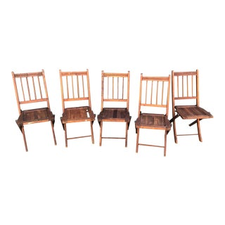 Vintage Wood Folding Chairs- Set of 5 For Sale