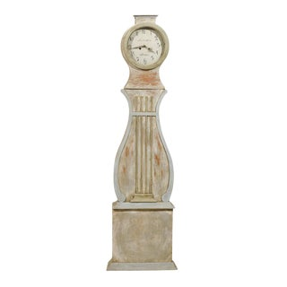 19th Century Swedish Painted Wood Mora Clock With Lyre Shaped Door For Sale