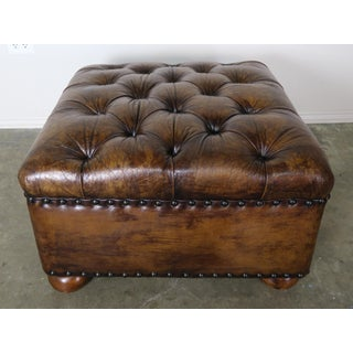 English Style Leather Tufted Bench on Bun Feet Preview