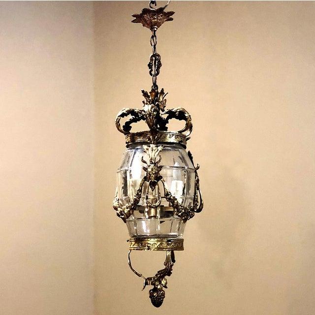 Antique Bronze & Crystal Lantern Chandelier For Sale - Image 12 of 12