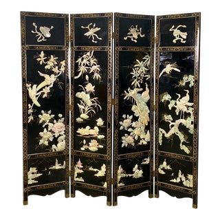 Vintage Chinese Black Lacquer, Mother of Pearl and Jade Screen/Room Divider For Sale