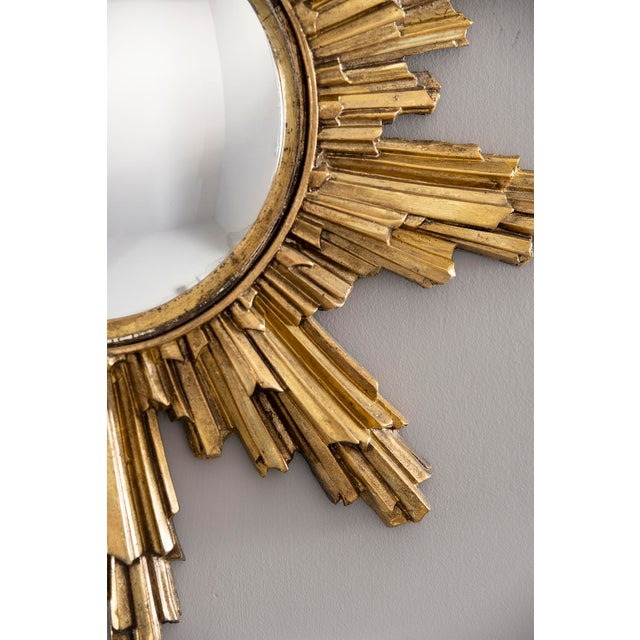 Glass Mid Century Convex Gilded Sunburst Mirror For Sale - Image 7 of 10