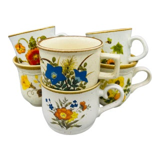 Vintage Mismatched Mikasa Floral Coffee Cups- Set of 6 For Sale
