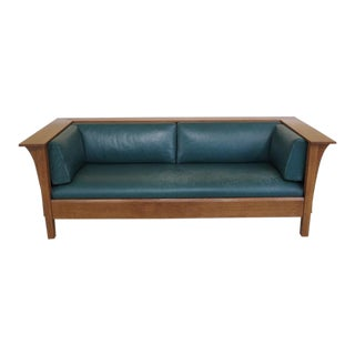 1990's Stickley Mission Oak Green Leather Sofa