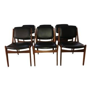 """Arne Vodder """"Ella"""" Teak & Leather Dining Chairs - Set of 6"""