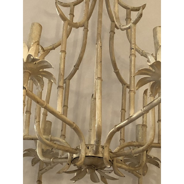1940s Italian Faux Bamboo Painted Iron and Tole Pagoda Style Chandelier For Sale - Image 5 of 8