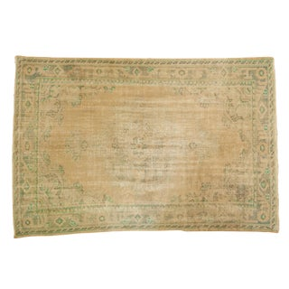 "Vintage Distressed Oushak Carpet - 5'8"" X 8'3"" For Sale"