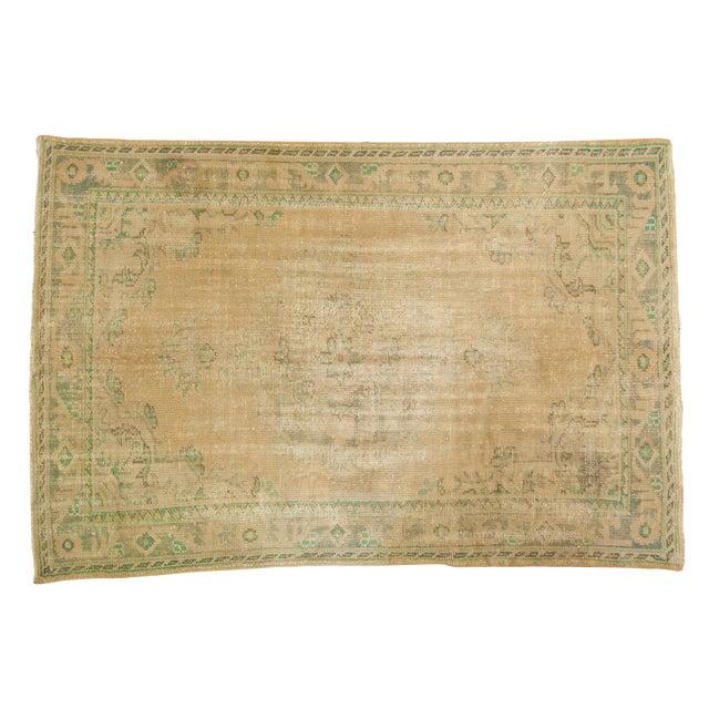 "Vintage Distressed Oushak Carpet - 5'8"" X 8'3"" For Sale"