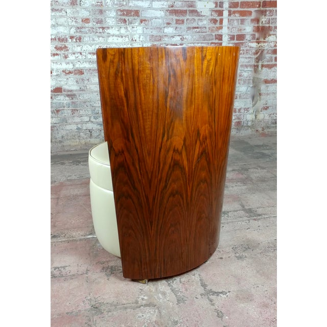 Brown Art Deco Fabulous Burl Walnut Barrel Chairs W/White Leather Seats-A Pair For Sale - Image 8 of 10