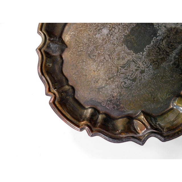 1970s Boho Chic Footed Silver Tray For Sale - Image 5 of 6