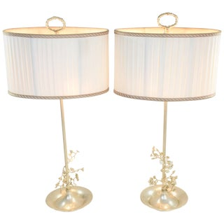 20th Century Pair of Silver Plated Flower Lamps, Spain, 1960s For Sale