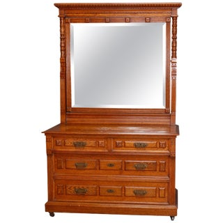 Eastlake Carved Oak and Bronze 4-Drawer Dresser With Beveled Mirror, Circa 1890 For Sale