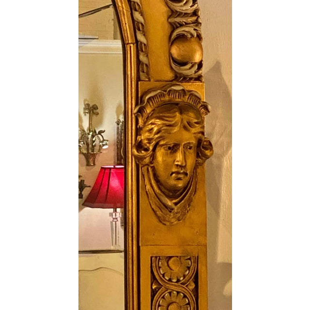 Gold Pair of Neoclassical Wall or Console Mirrors, Giltwood Carved For Sale - Image 8 of 13