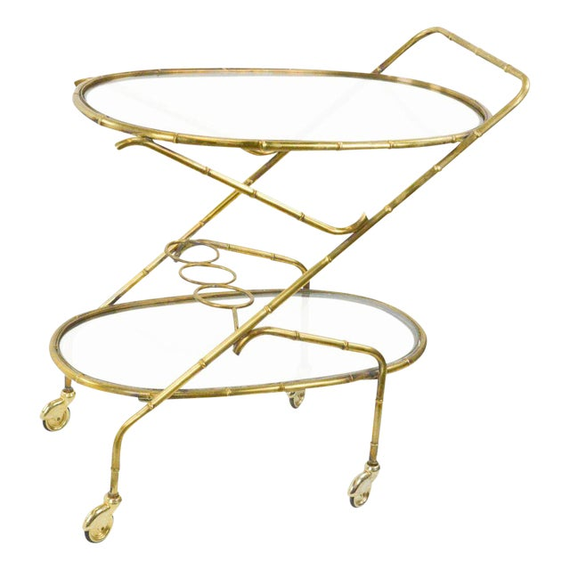 Vintage French Brass Bamboo Style Bar Cart - Image 1 of 6