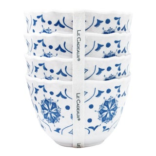 Moroccan Blue Melamine Dessert Bowls, Set of 4 For Sale