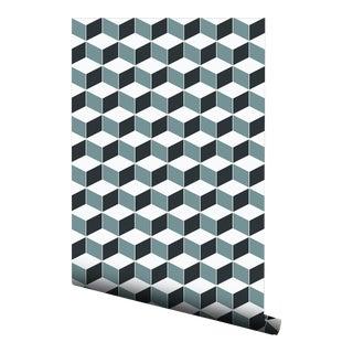 Pop Art Blue Hexagon Pre-Pasted Wallpaper - 2 Piece Set For Sale