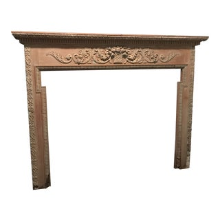 Antique English Carved Pine Mantel For Sale