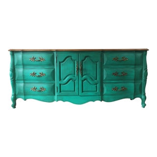 1970's Vintage Large French Provincial Turquoise Dresser For Sale